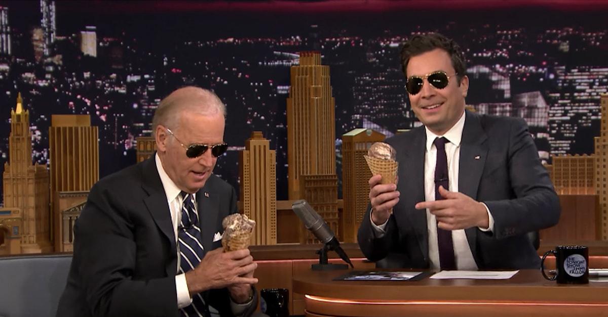 Joe Biden Eats Ice Cream Like A Boss On 'Jimmy Fallon'
