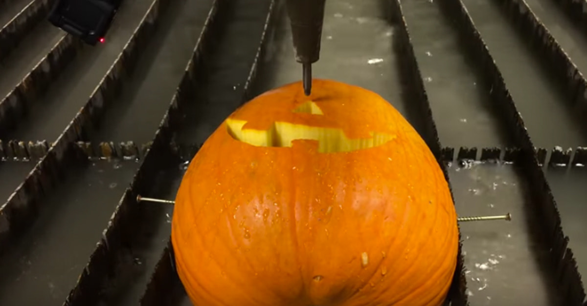 Carving A Pumpkin With A Water Cutter Is As Bad Ass As It Sounds