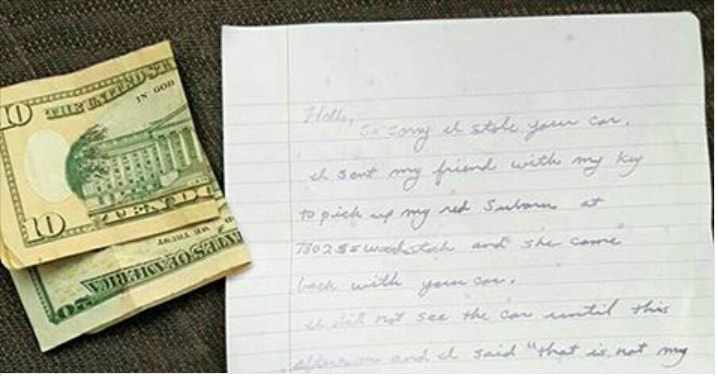 This Woman Accidentally Stole A Car, And Her Apology Note Is Completely Hilarious