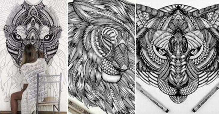 This Artist Creates Incredible Tribal Drawings Of Animals