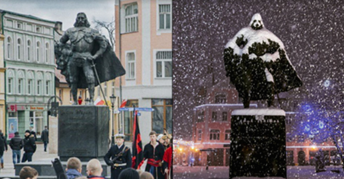 This Historical Statue Transforms Into An Epic Character Every Time It Snows
