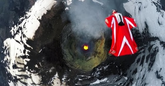 Watch This Adrenaline Junkie's Wingsuit Flight over an Active Volcano!