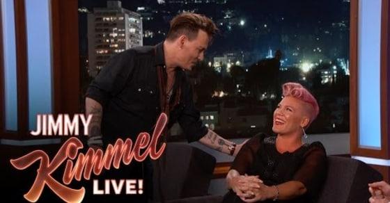 Pink Left Blushing After Meeting 'Crush' Johnny Depp!