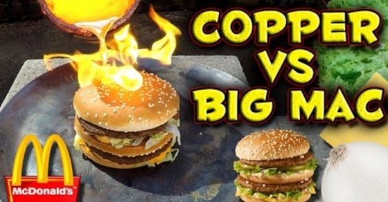 Watch What Happens When You Pour Molten Copper on a Big Mac