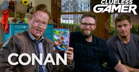 Conan Plays Hilarious Game of 'Mario Kart 8' with Zac Efron and Seth Rogen