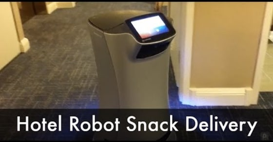 Watch This Hotel Room Service Robot Deliver a Snack!