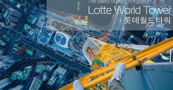 Daredevils Climb 555 Meters up 'Lotte World Tower' in Korea!