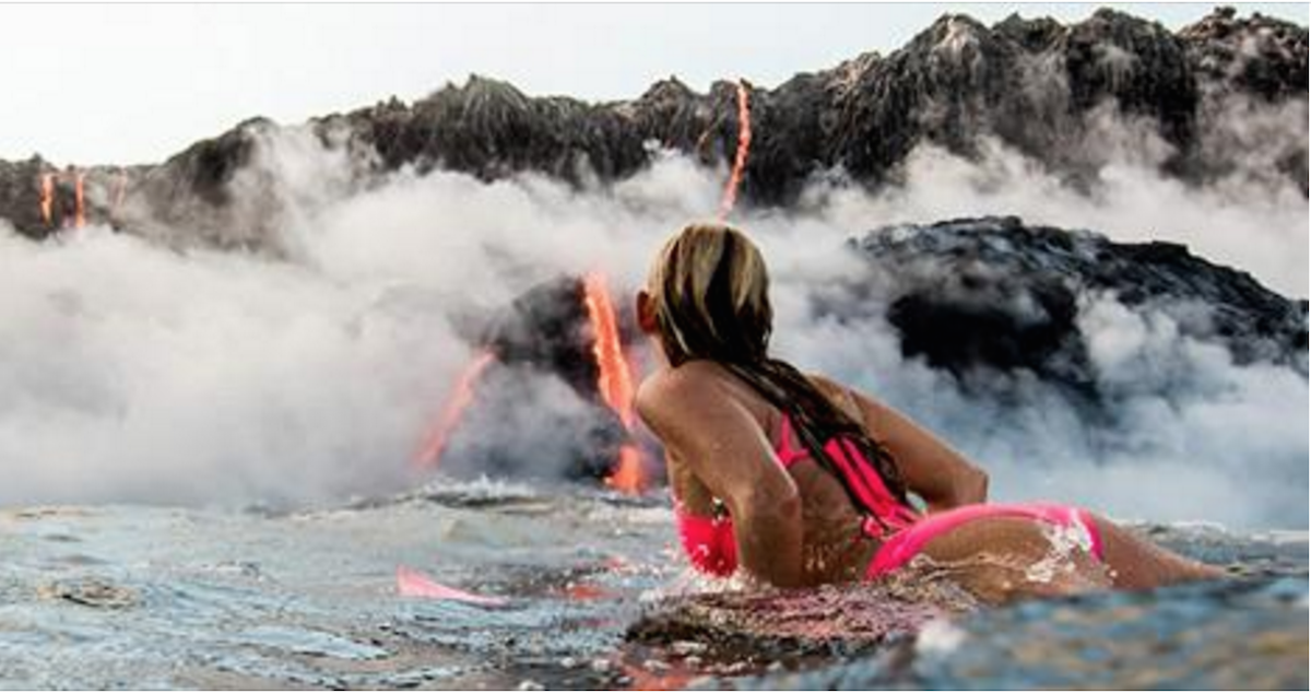This Woman Became The Ultimate Badass By Surfing Near An Erupting Volcano